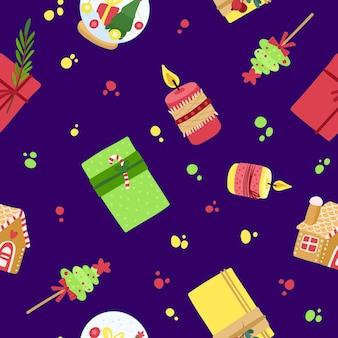 Wesołych świąt i szczęśliwego nowego roku. wakacyjny wzór z pudełka na prezenty, świece, imbirowy dom