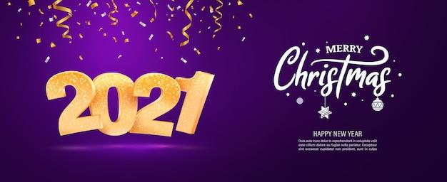 Wesołych świąt i szczęśliwego nowego roku wektor baner internetowy boże narodzenie wakacje tło z spadającymi konfetti