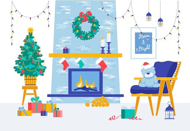 Wesołych świąt i szczęśliwego nowego roku wystrój pokoju