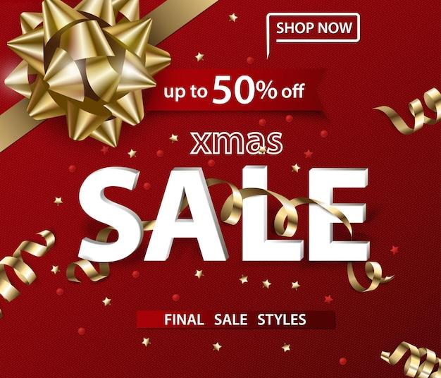 Wesołych świąt i szczęśliwego nowego roku wzór banerów sprzedaży z kokardą świąteczną koncepcja sprzedaży