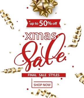 Wesołych świąt i szczęśliwego nowego roku wzór banerów sprzedaży z oddziałami świątecznymi koncepcja sprzedaży