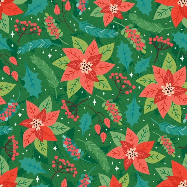Wesołych świąt i szczęśliwego nowego roku wzór. świąteczne tło z elementami kwiatowy boże narodzenie, poinsecja, liście ostrokrzewu, czerwone jagody, gałęzie jodły. modny styl retro. szablon projektu wektor
