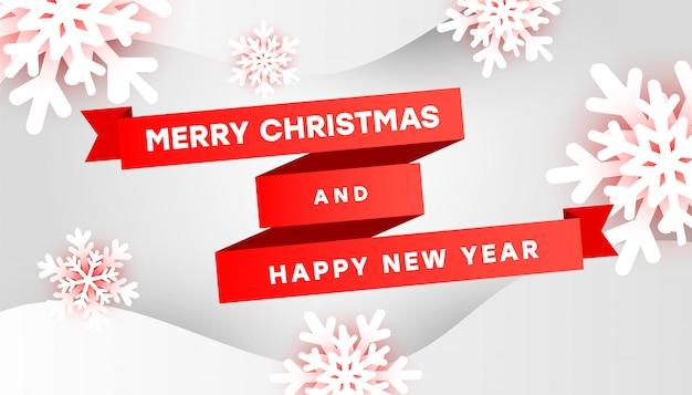 Wesołych świąt i szczęśliwego nowego roku z białymi płatkami śniegu i czerwonymi wstążkami na szarym tle