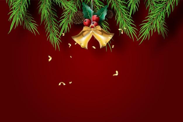 Wesołych świąt i szczęśliwego nowego roku z czerwonym tle ton.
