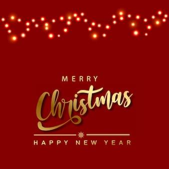 Wesołych świąt i szczęśliwego nowego roku z girlandami świątecznymi. wektor