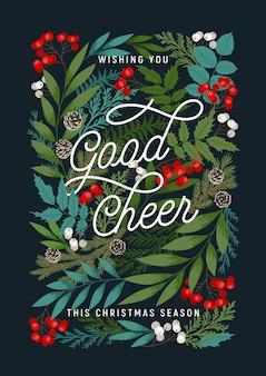 . wesołych świąt i szczęśliwego nowego roku z jagodami ostrokrzewu i jarzębiny, szyszkami, gałęziami sosny i jodły, roślinami zimowymi.