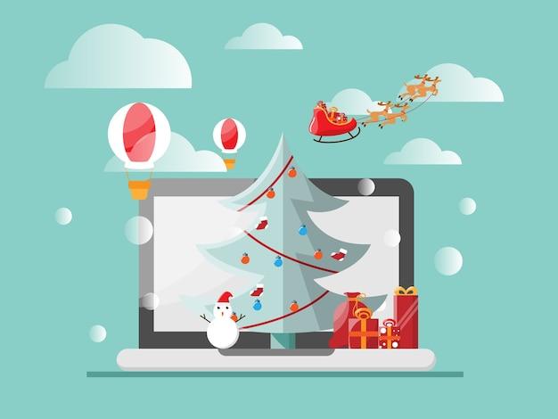 Wesołych świąt i szczęśliwego nowego roku z laptopowym pudełkiem na choinkę, koncepcja wakacji online