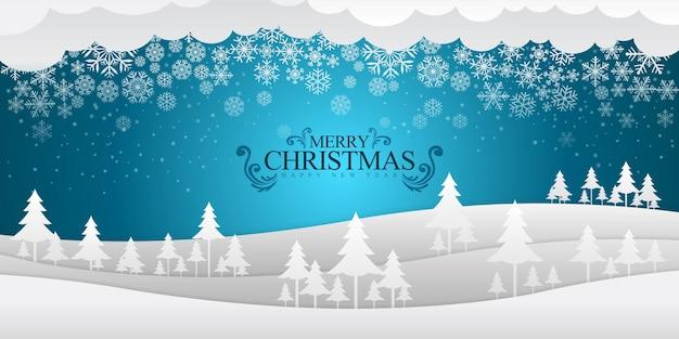 Wesołych świąt i szczęśliwego nowego roku z niebieskim tłem i spadającym śniegiem