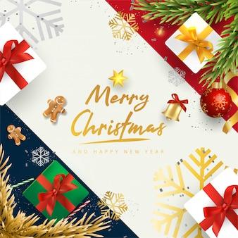 Wesołych świąt i szczęśliwego nowego roku z realistycznymi przedmiotami świątecznymi