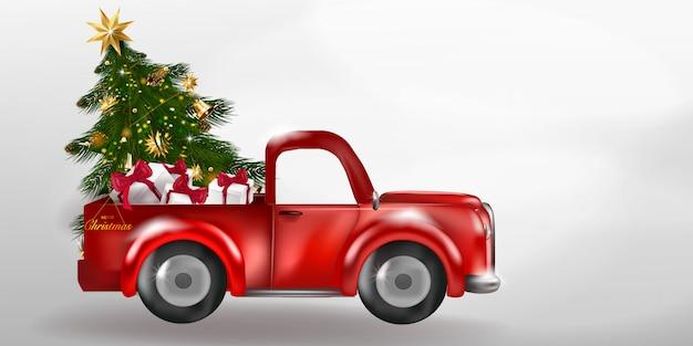 Wesołych świąt i szczęśliwego nowego roku z retro furgonetką z choinką.