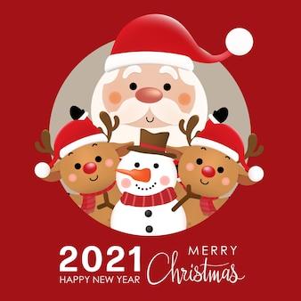 Wesołych świąt i szczęśliwego nowego roku z uroczym mikołajem, reniferem i bałwanem.