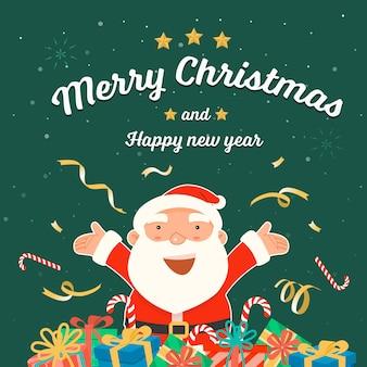 Wesołych świąt i szczęśliwego nowego roku ze świętym mikołajem.