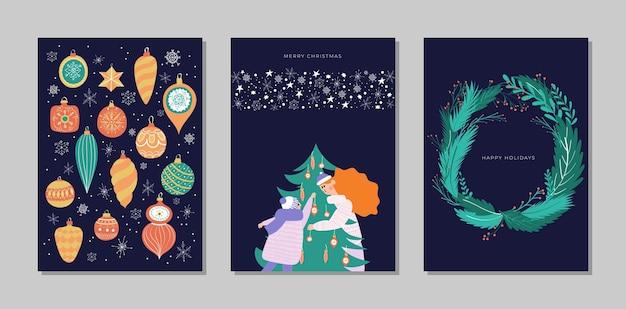 Wesołych świąt i szczęśliwego nowego roku zestaw kolekcja kart