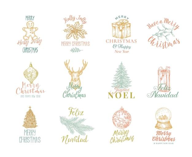 Wesołych świąt I Szczęśliwego Nowego Roku Zestaw Napisów Premium Wektorów