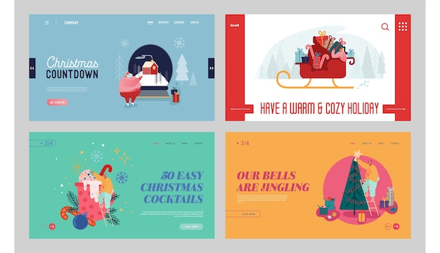 Wesołych świąt i szczęśliwego nowego roku zestaw strony docelowej witryny sieci web. zimowe tradycje świąteczne. święty mikołaj i zdobione jodły, baner strony internetowej uroczystości xmas. kreskówka mieszkanie