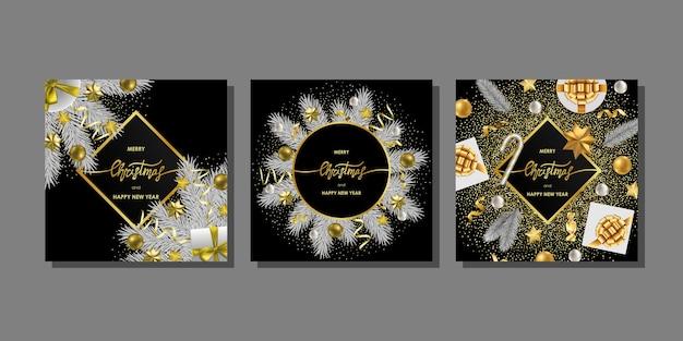 Wesołych świąt i szczęśliwego nowego roku zestaw szablonów kartek świątecznych z miejscem na tekst