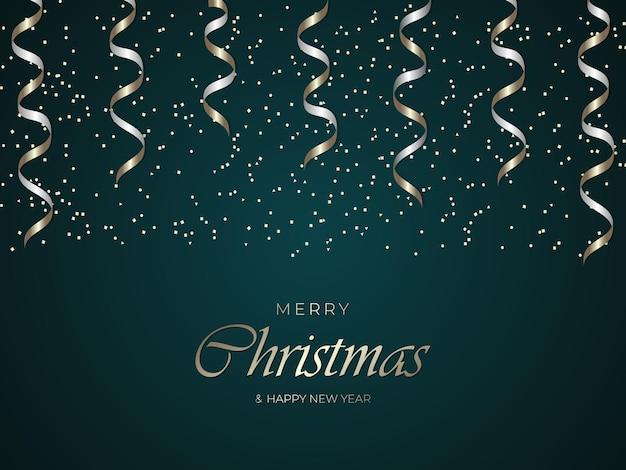 Wesołych świąt i szczęśliwego nowego roku zielone luksusowe tło ze złotym konfetti