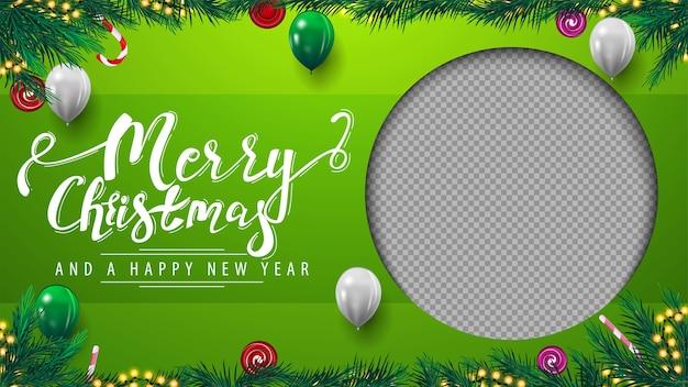 Wesołych świąt i szczęśliwego nowego roku zielony szablon