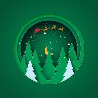 Wesołych świąt i szczęśliwego nowego roku zimowy krajobraz w zielonym kółku ozdobiony gwiazdkami choinki i mikołajem papierowa sztuka