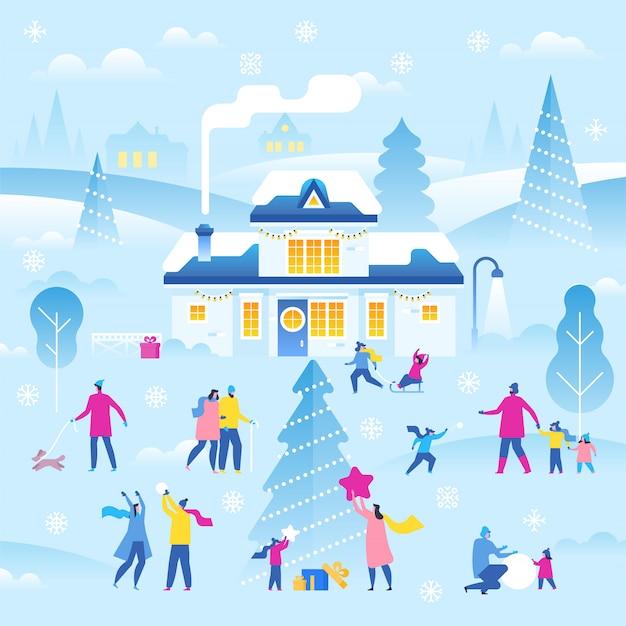 Wesołych świąt i szczęśliwego nowego roku. zimowy krajobraz