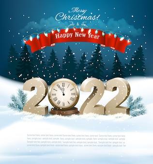 Wesołych świąt i szczęśliwego nowego roku złote cyfry z zegarową gałęzią drzewa na zimowej ziemi