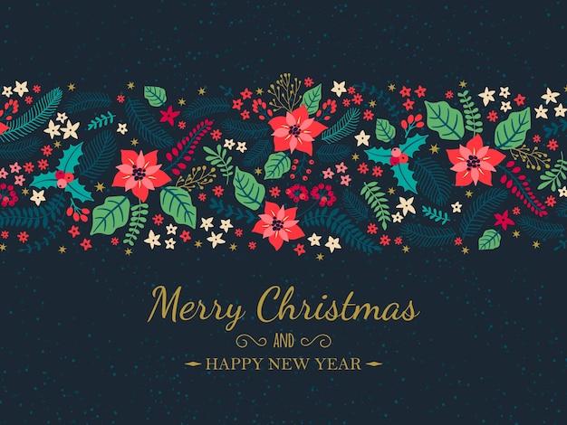 Wesołych świąt i szczęśliwego nowego roku życzenia świąteczne z zimowymi roślinami.