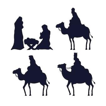 Wesołych świąt i szopki zestaw ikon projekt sylwetki, sezon zimowy i motyw dekoracji