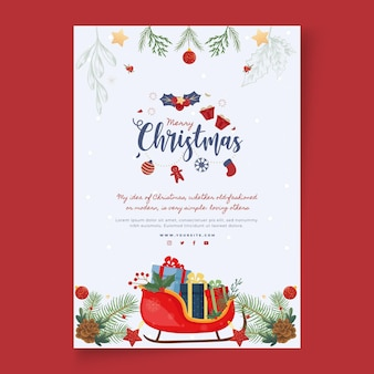 Wesołych świąt i wesołych świąt plakat szablon