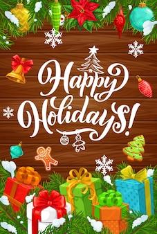 Wesołych świąt i wesołych świąt, plakat z zimowymi życzeniami. prezenty bożonarodzeniowe i ozdoby do dekoracji, piernikowy ludzik i drzewo, płatki śniegu, złoty dzwonek i poinsecja