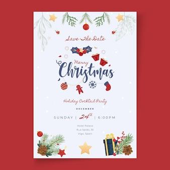 Wesołych świąt i wesołych świąt szablon karty