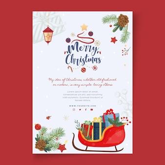Wesołych świąt i wesołych świąt szablon ulotki