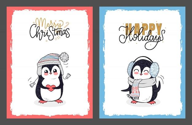Wesołych świąt i wesołych świąt z pingwinami