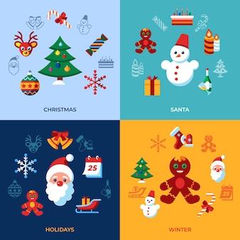 Wesołych świąt i zimowych świąt ikony kolekcji
