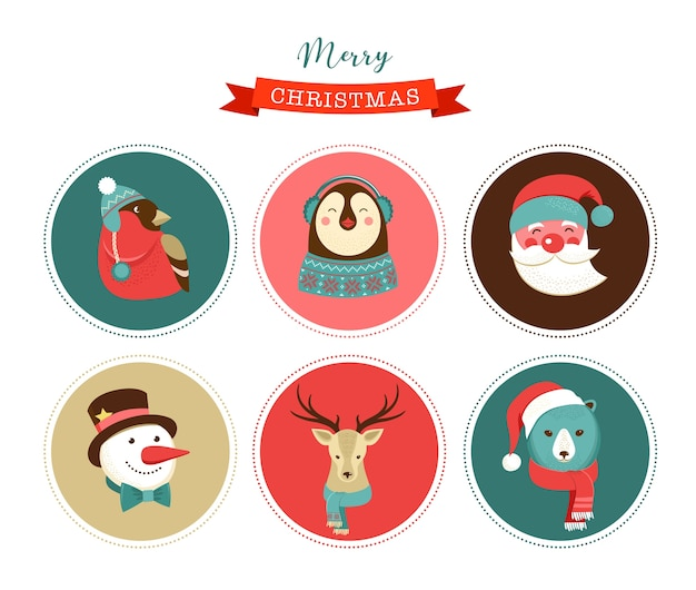 Wesołych świąt ikony, elementy w stylu retro i postacie, ilustracje, tagi i etykiety