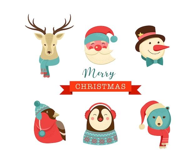Wesołych świąt ikony, elementy w stylu retro i postacie, metki i etykiety