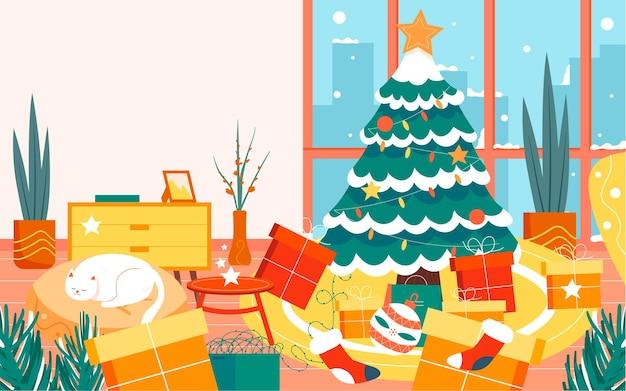 Wesołych świąt ilustracja postaci wigilia udekorowana choinka plakat