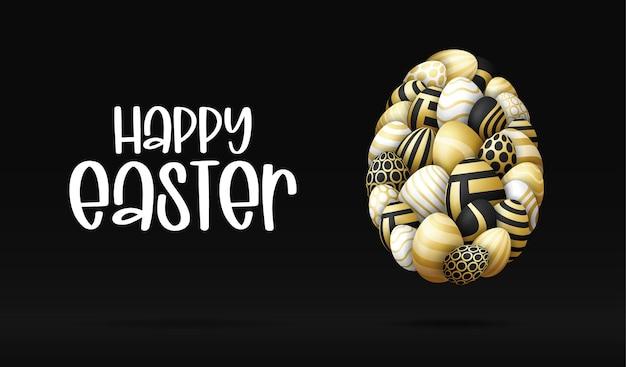 Wesołych świąt kartka z kształtami jaj