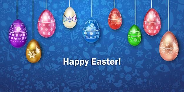 Wesołych świąt kartka z pisankami w różnych kolorach z kolorową dekoracją