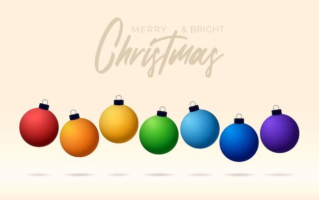 Wesołych świąt kartkę z życzeniami z kulkami w kolorach tęczy. szczęśliwego nowego roku cacko wektor kartkę z życzeniami, kolorowe kulki w rzędzie na białym tle na żółtym tle