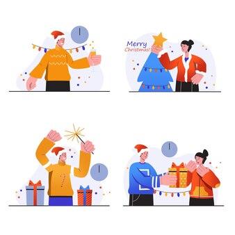 Wesołych świąt koncepcyjnych sceny ustawiają ludzi radośnie świętują wakacje na choince dając