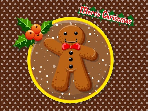 Wesołych świąt kreskówka gingerbread man ciasteczka na kolorowym tle. szczęśliwego nowego roku i element dekoracji. ilustracji wektorowych.