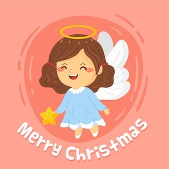 Wesołych świąt ładny anioł kobieta ze skrzydłami