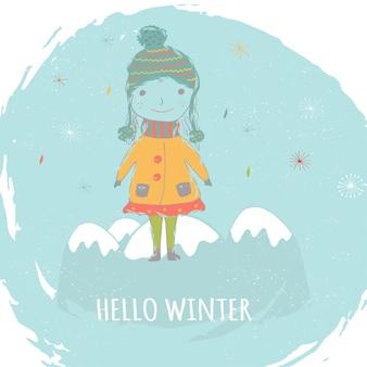 Wesołych świąt ładny kartkę z życzeniami z dziewczyną na prezenty. ręcznie rysowane styl plakatów na zaproszenie, pokój dziecięcy, wystrój przedszkola, projektowanie wnętrz.