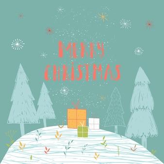 Wesołych świąt ładny kartkę z życzeniami z lasu i prezenty. ręcznie rysowane styl plakatów na zaproszenie, pokój dziecięcy, wystrój przedszkola, projektowanie wnętrz.