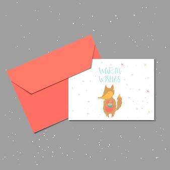 Wesołych świąt ładny kartkę z życzeniami z lisem i kopertą na prezent. ręcznie rysowane styl plakatów na zaproszenie, pokój dziecięcy, wystrój przedszkola, projektowanie wnętrz. szablon wektor.