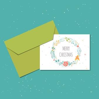 Wesołych świąt ładny kartkę z życzeniami z wieńcem i kopertą na prezent. ręcznie rysowane styl plakatów na zaproszenie, pokój dziecięcy, wystrój przedszkola, projektowanie wnętrz. szablon wektor.