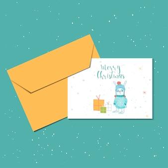 Wesołych świąt ładny kartkę z życzeniami z zająca, prezenty i kopertę na prezent. ręcznie rysowane styl plakatów na zaproszenie, pokój dziecięcy, wystrój przedszkola, projektowanie wnętrz. szablon wektor.