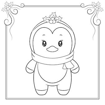 Wesołych świąt ładny pingwin rysunek szkic do kolorowania