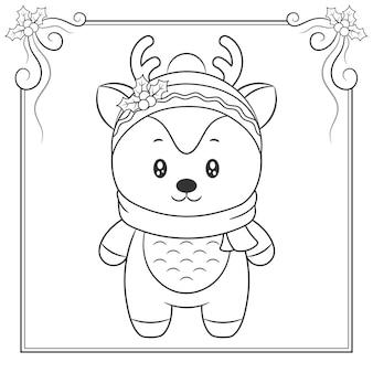 Wesołych świąt ładny renifer z szalikiem, rysunek szkic do kolorowania