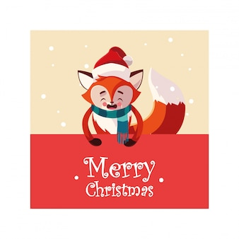 Wesołych świąt lis kreskówka